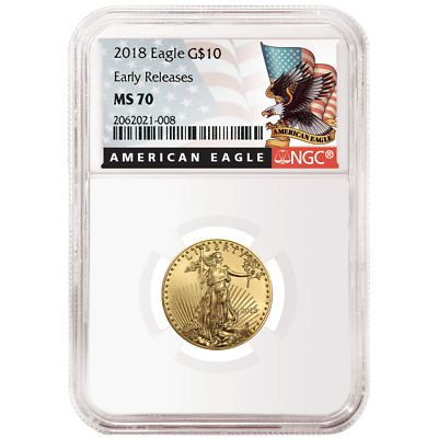 2018 $10 American Gold Eagle 1/4 oz. NGC MS70 Black ER Label