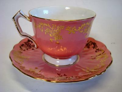 Aynsley England Gold Floral Scrolls Over Pink Fine Bone China Cup + Saucer