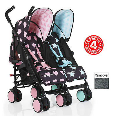 New Cosatto Supa Dupa Go Twin Stroller Lightweight Double Pushchair Lovestar
