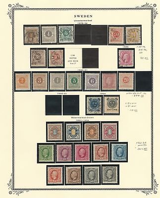 Sweden Collection 1855 to 1920 on 4 Scott Specialty Pages, Early Classics