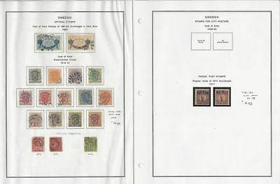 Sweden Collection 1889-1917 on 2 Pages, #O26-O49, Q1-Q2