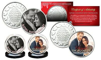 PRINCE HARRY & MEGHAN MARKLE Royal Engagement RCM Medallion Official 2-Coin Set