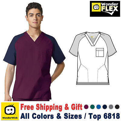 WonderWink Flex Men's Pocket V-Neck Block Top Medical Work Scrub Size XS-3XL