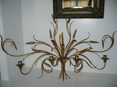 Vintage Italian Tole Gold Gilt 4 Arm Candle Wall Sconce Hollywood Regency Large