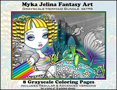 Myka Jelina Art Coloring Pages Mermaids Grayscale Set 8 Loose Leaf Pages Fairy