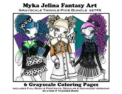 Myka Jelina Coloring Pages Twinkle Pixie Grayscale Set 9 Loose Leaf Pages Fairy