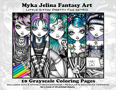 Myka Jelina Coloring Pages Sittin Pretty Grayscale Set 10 Loose Leaf Pages Fairy