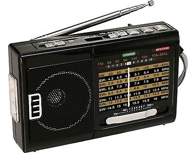 NEW QFX R-39 AM/FM/SW 10 Band Radio with Flashlight and USB/TF Player