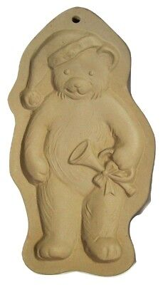 Brown Bag Cookie Mold Teddy Bear with Santa Hat Trumpet Ceramic 1990 Christmas
