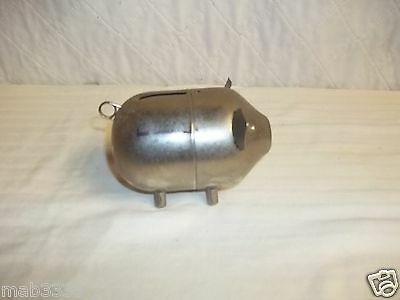 Vintage Metal Piggy Bank with Standing Ears- Unpolished Patina