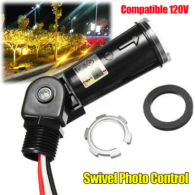 LED Compatible 120V Dusk To Dawn Outdoor Swivel Photo Control Photocell for Wal