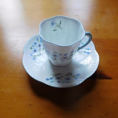 Vintage Shelley England Demitasse + Saucer In The Blue Rock Pattern