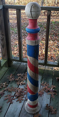 """Large Antique Style Wood Red White Blue Stripes 41 3/8"""" Tall Barber Pole Sign"""