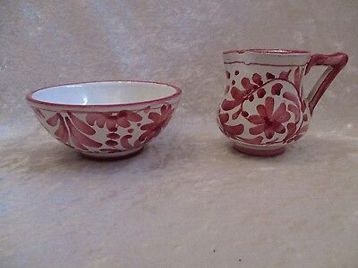 Vintage Italian Pottery Hand Painted Creamer and Sugar Bowl