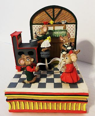 Mice in Kitchen Making Taffy Pull Motion Animated Music Box Plays Candyman