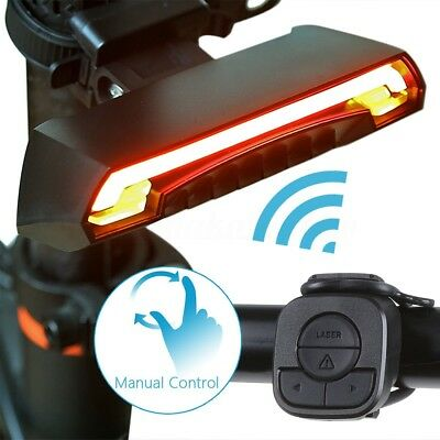 Bicycle Bike Rear Tail Laser LED Indicator Signal Light Wireless Remote USB AU