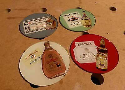 Genuine 1960's Shabby Vintage Chic Coasters Round Glass Mats Drinks Advertising