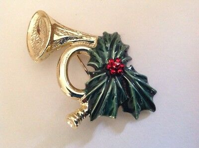 Vintage Gerry's Holiday French Horn And Holly Berry Pin/brooch