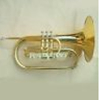 Mellophone kit F key brass body gold lacquer case mouthpiece cloths gloves #1658
