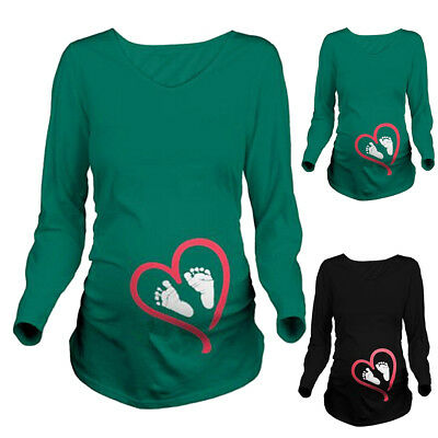 Women Maternity Long Sleeve Baby Foot Printed T-Shirt Pregnant Clothes Tops US