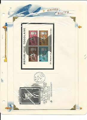 Togo Collection, John Kennedy on 10 White Ace Pages, Mint NH & FDC