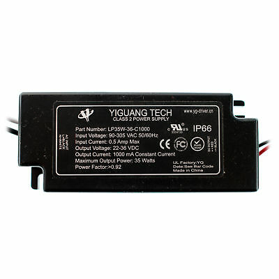 Yiguang-Tech Lp35W-36-C1000 Led Driver, 90-305V-In, 22-36Vdc @ 1000Ma Out, 35W