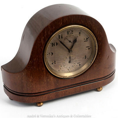 Antique ZENITH Watch Co - BEDSIDE ALARM CLOCK - Swiss Solid Mahogany Mantel Rare