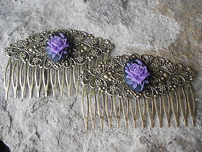 Pair Of Purple Rose On Black Cameo Bronze Filigree Hair Combs - Victorian