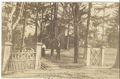 Man Woman Standing in front of House Architecture Fence Vintage Photo Edwardian