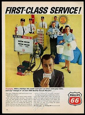 1965 Phillips 66 gas pump station workers photo vintage print ad