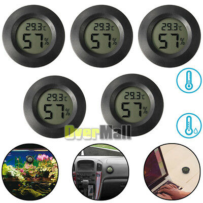 5 X New Digital Cigar Humidor Hygrometer Thermometer Temperature Round Black