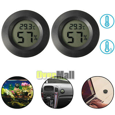 2 X New Digital Cigar Humidor Hygrometer Thermometer Temperature Round Black