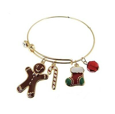 Christmas Gingerbread Man Candy Cane Stocking Crystal Gold Tone Bracelet