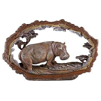 "Hippo Hippopotamus Faux Carved Wood Look Bark Frame Figurine Resin 7.5"" Long"