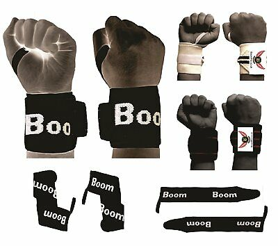 BooM Pro Weight Lifting Wrist Wraps Bandage Hand Support Gym Straps Brace Cotton