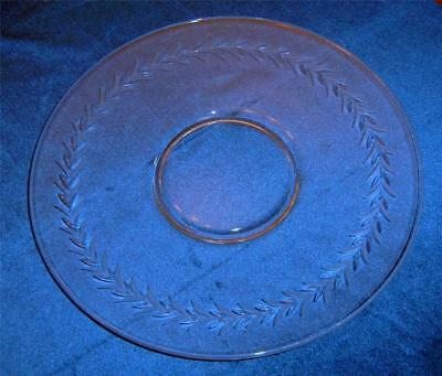 """Fostoria Crystal 11"""" Round HOLLY Etched Sandwich Plate EXC!"""