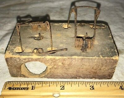 Antique Double Wood Wire Choker Style Mouse Trap Vintage Rodent Tool Gadget Old