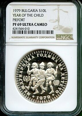 Bulgaria 1979  Year Of Child Proof  Piefort   10 Leva   Ngc 69 Uc  Very Rare