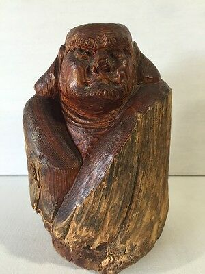 Asian Large Wood Hand Carved Sculpture Statue Warrior Man Buddah Antique