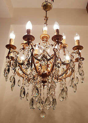 Antique 15 arms 15 lights Brass & Crystals HUGE Chandelier from 1950's