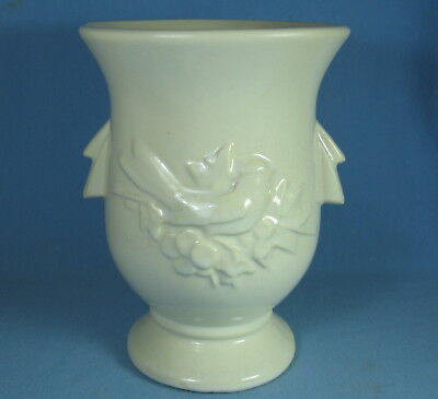 Vintage McCoy Pottery WHITE CARDINAL Song Bird & HOLLY BERRY Signed VASE