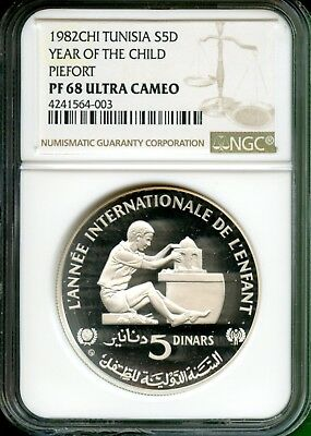 Tunisia  1982  Year Of Child  Proof  Piefort   $5 D   Ngc 68 Uc  Very Rare