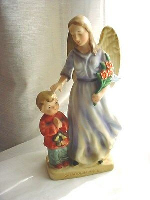 Vtg Guardian Angel Figurine with Little Boy 7 inch Bisque Porcelain Lefton