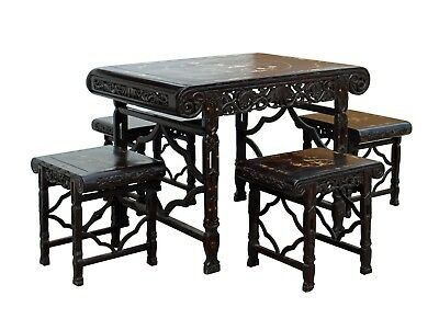 Chinese Dark Brown Rosewood Mother of Pearl Inlay Table Chair 5 Piece Set cs3526