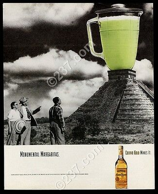 1990 Cuervo tequila green margarita pitcher on pyramid photo vintage print ad
