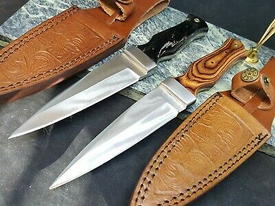 Boot Knife Dagger Fixed Blade Full Tang With Choice of Handle Leather Sheath