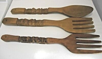 "22"" LG Wood Spoon Fork Wall Hanging Decor Retro MCM Mid Century Carved Totem 3"