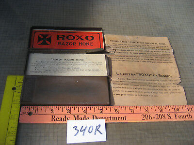Vintage Roxo Razor Sharpening Stone Hone Witch Box Old Used 340R