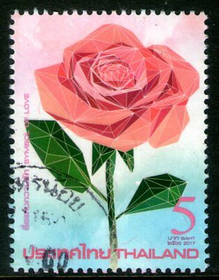 Thailand 2017 5Bt Valentine's Day Rose Fine Used