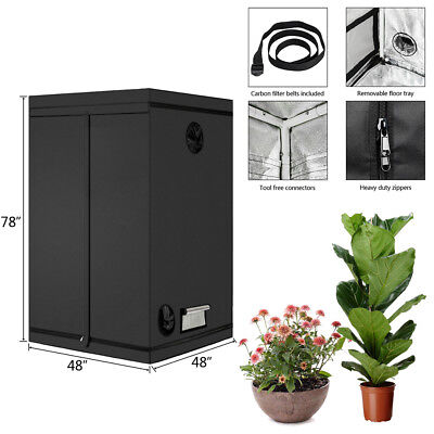 "48""x 48""x 80"" Hydroponic Plant Grow Tent Refective Mylar Indoor 600D Room New"